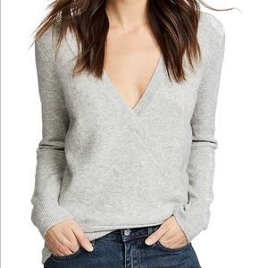 Madewell Wrap-Front Pullover Sweater, Gray